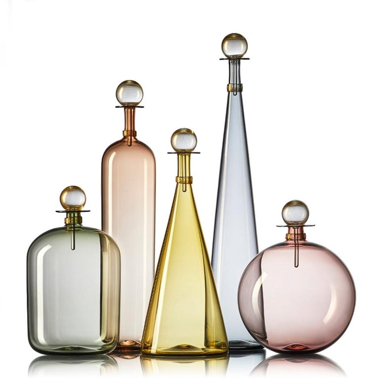 Group of 7 Modernist Hand Blown Glass Bottle Vases in Smoky Colors by Vetro Vero For Sale 1