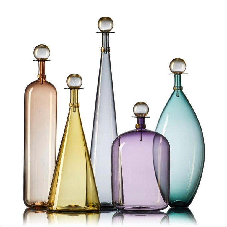 Group of 7 Modernist Hand Blown Glass Bottle Vases in Smoky Colors by Vetro Vero For Sale 2