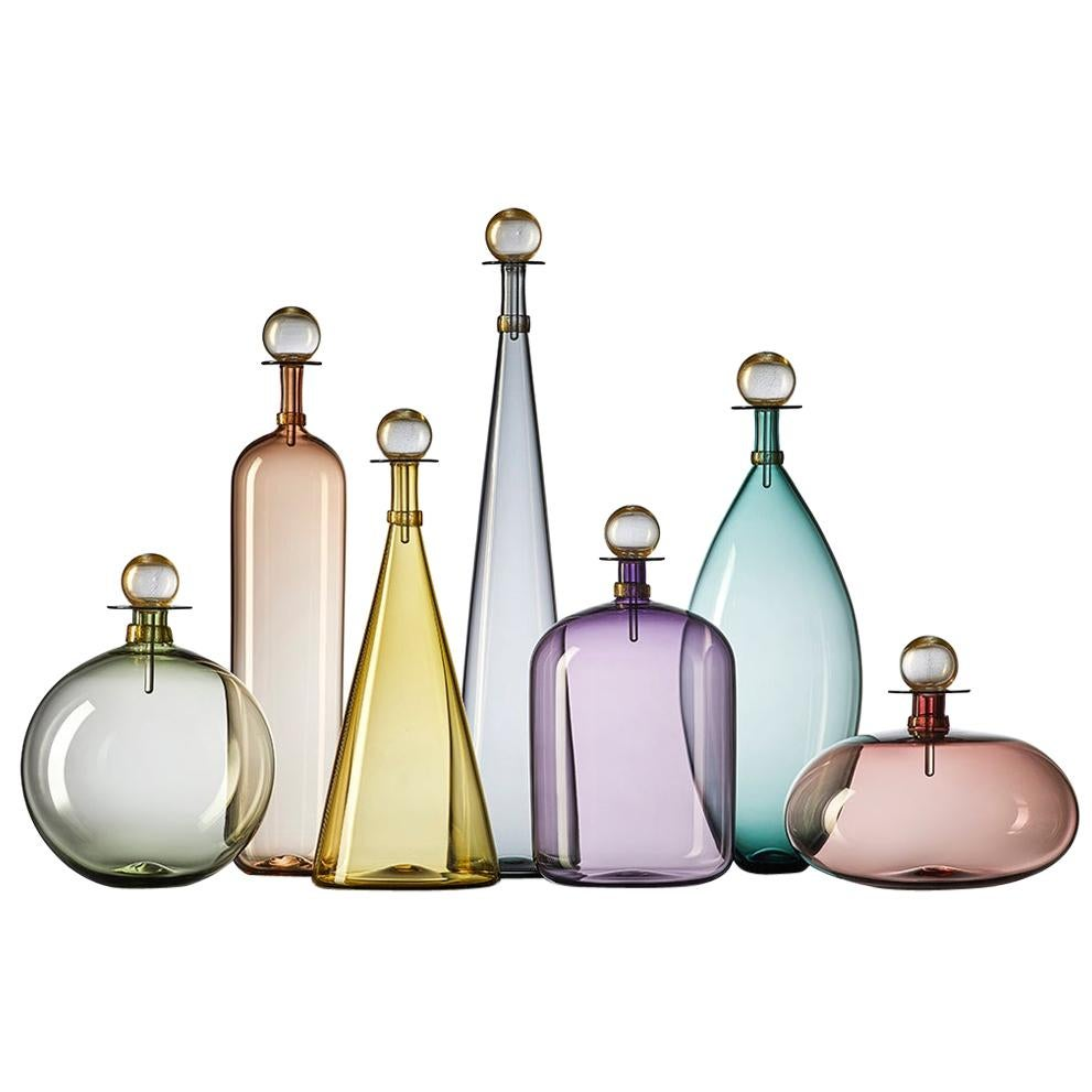 Group of 7 Modernist Hand Blown Glass Bottle Vases in Smoky Colors by Vetro Vero