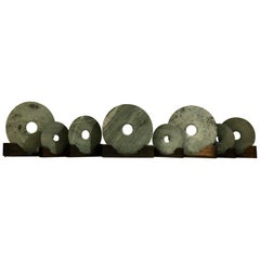 Group of 8 Chinese Jade Bi Discs on Wooden Stands