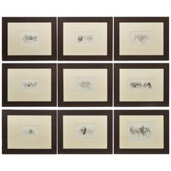 Group of 9 Framed Engraved Egyptology Book Plates by Vivant Denon, Early 20th C.