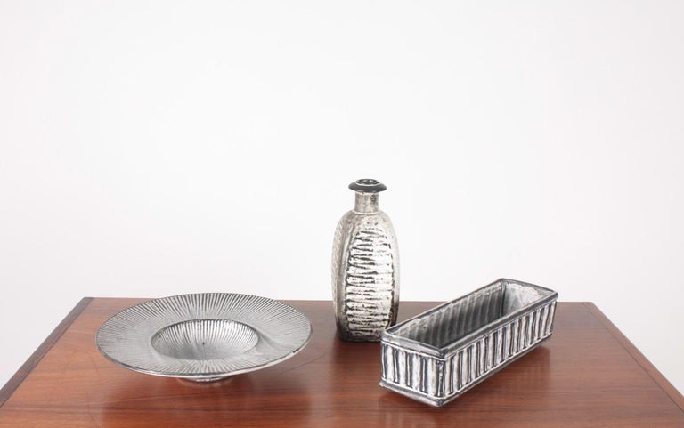 Group of three vases in ceramic, designed by Svend Hammershøj and made by Kähler. Great original condition.