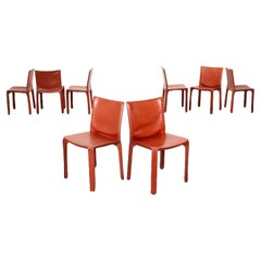 Group Of Eight Chairs Cab 412 Mario Bellini Cassina Leather Italy 1980
