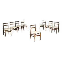 Group Of Eight Giò Ponti Chairs Ash Tree Foam Leatherette, 1950s