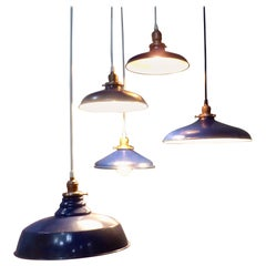 Group of Five 1930 Blue Enamel Industrial Pendant Lights