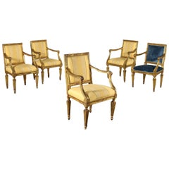 Group of Five Armchairs Neoclassical Naples, Italy Second Half '700