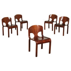 Group of Five Chairs Veneered Wood, Italy, 1980s