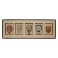 Group of Five Life Size Carved and Painted Japanese Kabuki Theatre Masks