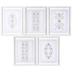 Group of Five Trowbridge Framed Embroidered Textile Art Works