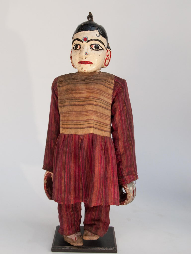 Hand-Carved Group of Five Vintage Puppets, Newar People of Nepal, Early 20th Century For Sale