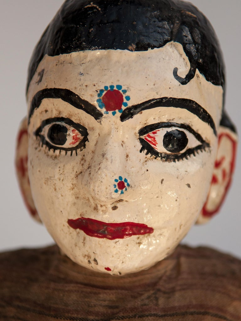 Group of Five Vintage Puppets, Newar People of Nepal, Early 20th Century In Fair Condition For Sale In Point Richmond, CA