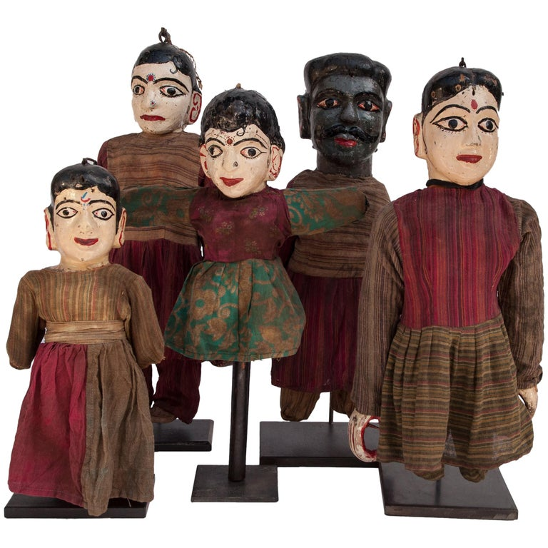 Group of Five Vintage Puppets, Newar People of Nepal, Early 20th Century For Sale