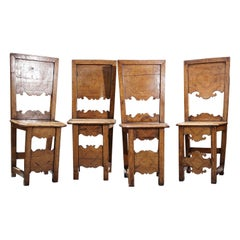 Group of Four 18th Century Inlaid Walnut Side Chairs