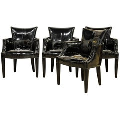 Group of Four Black Vinyl Covered Salon Armchairs by John Hutton for Donghia