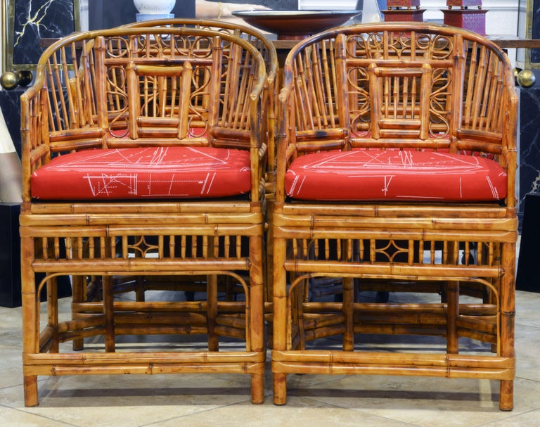 Chinese Chippendale Group of Four Brighton Pavilion Style Chinoiserie Chippendale Bamboo Armchairs