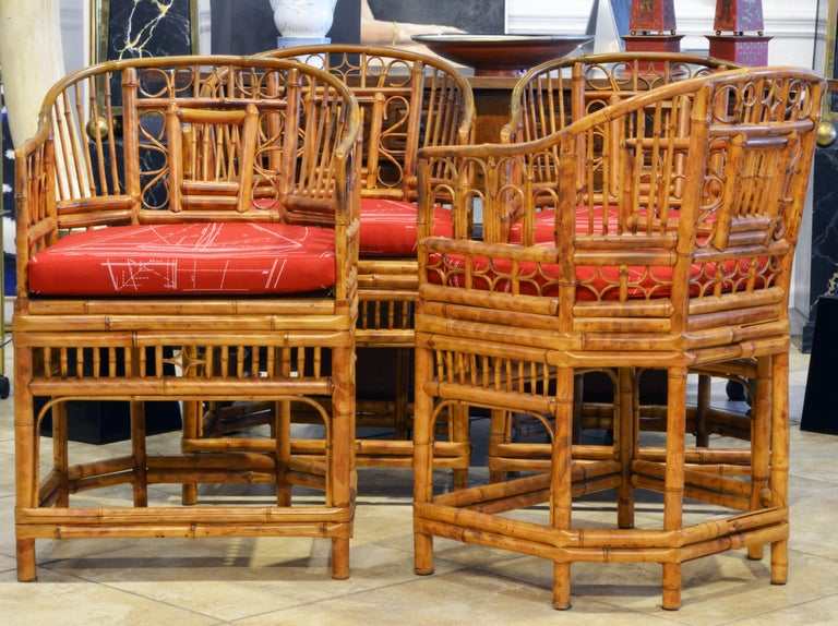 Asian Group of Four Brighton Pavilion Style Chinoiserie Chippendale Bamboo Armchairs