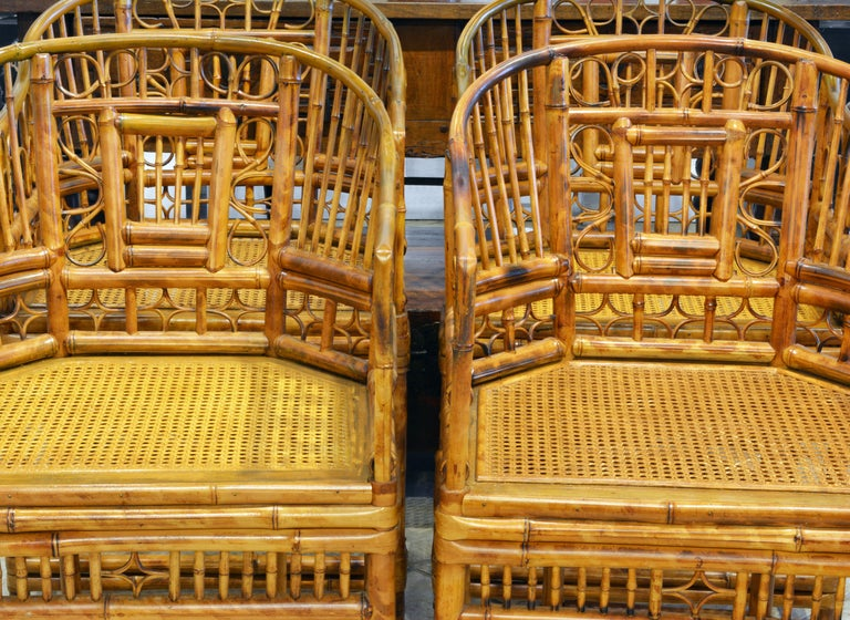 20th Century Group of Four Brighton Pavilion Style Chinoiserie Chippendale Bamboo Armchairs