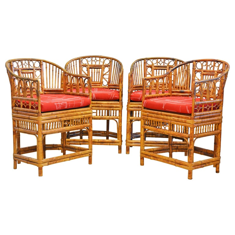 Group of Four Brighton Pavilion Style Chinoiserie Chippendale Bamboo Armchairs