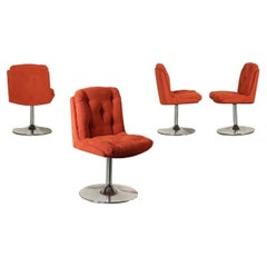 Group of Four Chairs Chromed Metal Fabric Foam, Italy, 1960s-1970s