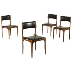 Group of Four Chairs Giuseppe Gibelli Beech Foam Leatherette 1960s