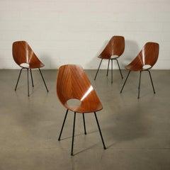 Group Of Four Chairs Vittorio Nobili Plywood Enamelled Metal Italy 60s