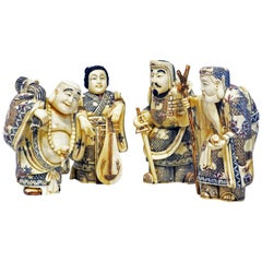 Group of Four Chinese Carved Ox-Bone Scrimshaw Immortal Figures, 20th Century