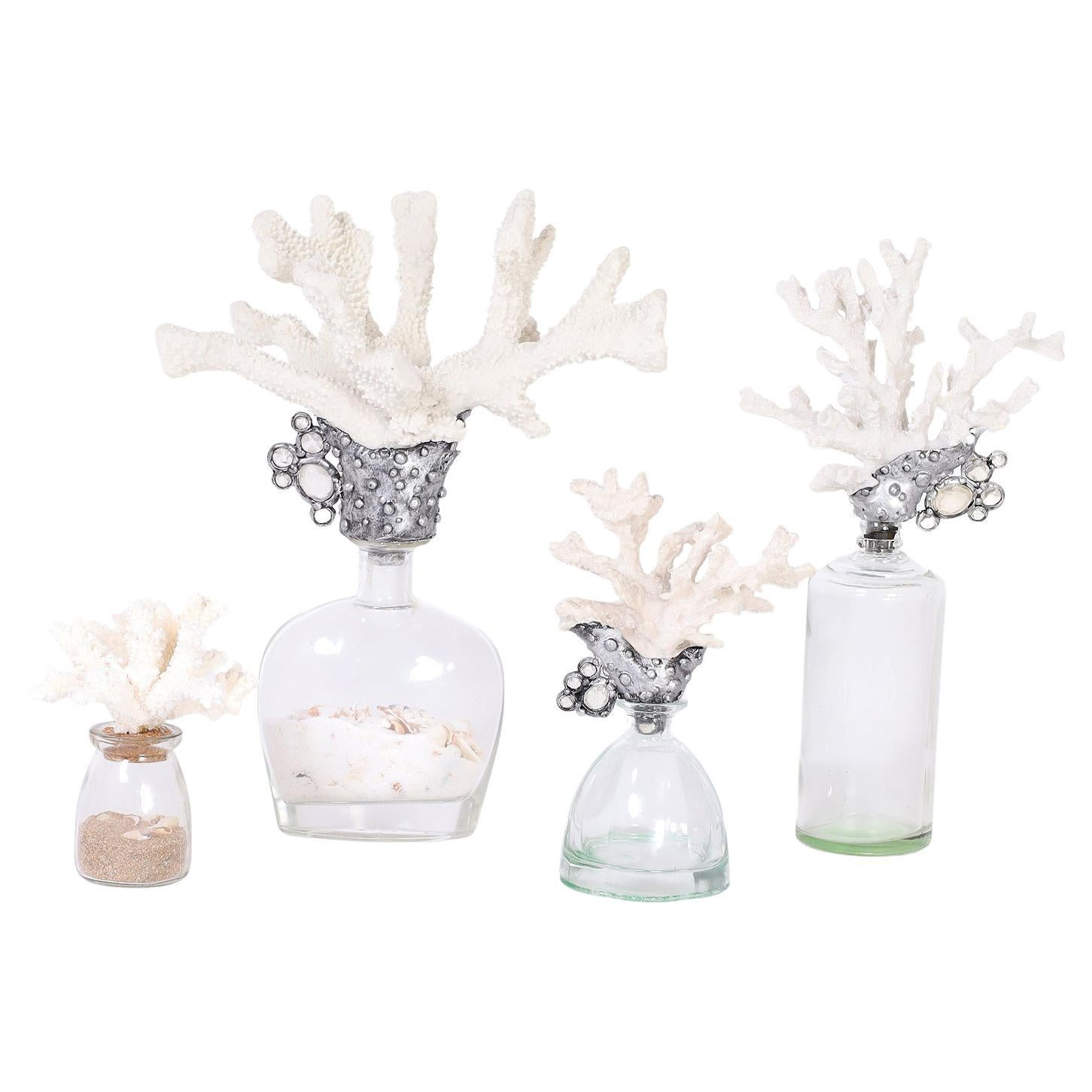 Group of Four Faux Coral and Bottle Sculptures, Priced Individually