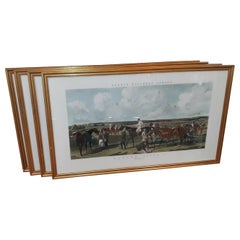 Group of Four Large English Equestrian Hand Colored Engravings, 1856