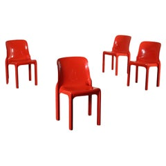 Group of Four Vico Magistretti Chairs Plastic Materials, 1960s-1970s