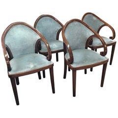 Group of Four Walnut Upholstered Dining Room Chairs
