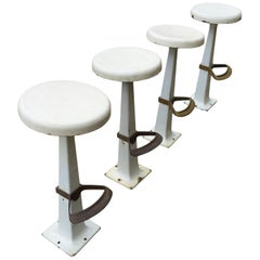 Group of Four White Stools with Footrest, circa 1930