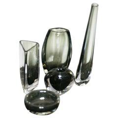 Group of Green Nils Landberg for Orrefors Crystal Glass Vases, Sweden, 1950s