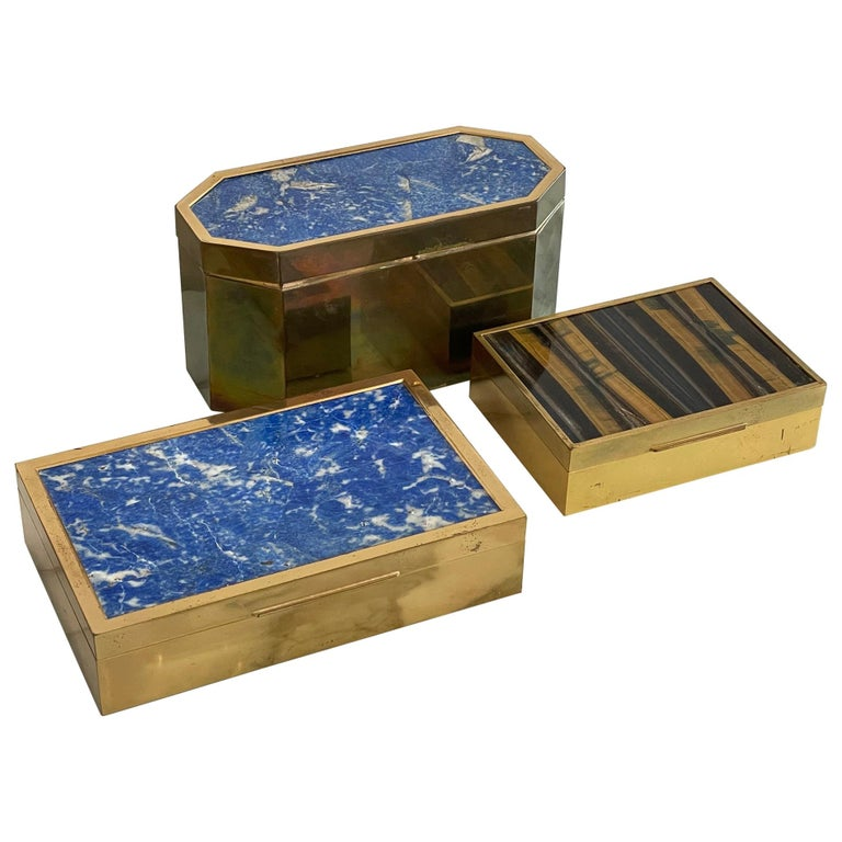 Group of Italian Boxes Lapis Lazuli and Tiger's Eye For Sale