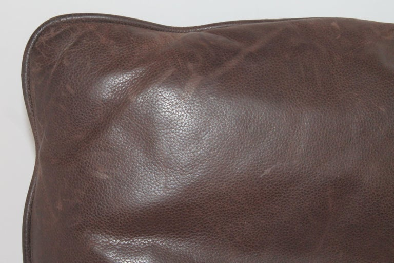 Mid-Century Modern Group of Leather Pillows, Double Sided, 3 For Sale