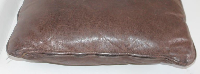 American Group of Leather Pillows, Double Sided, 3 For Sale