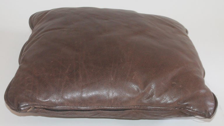 Hand-Crafted Group of Leather Pillows, Double Sided, 3 For Sale
