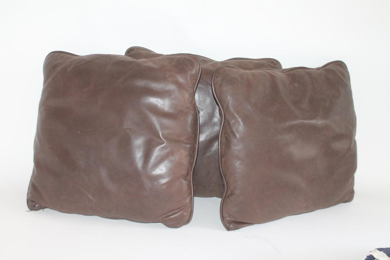 Group of Leather Pillows, Double Sided, 3 In Good Condition For Sale In Los Angeles, CA