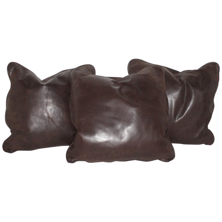 Group of Leather Pillows, Double Sided, 3 For Sale