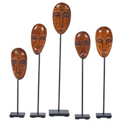 Group of Lega African Masks on Stands