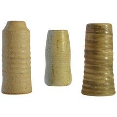 Group of Midcentury Ceramic Studio Vases Off-White Tones