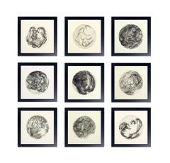 Gruppe Modernister Schwarzweißer Lithographien von Ana Rosa de Ycaza