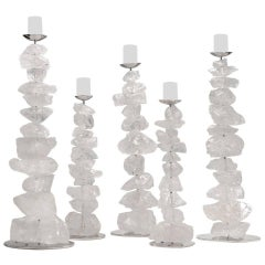 Group of Natural Rock Crystal Mounted Candleholders