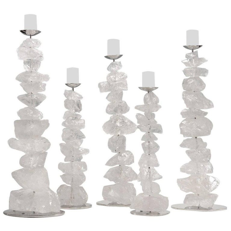 Group of Natural Rock Crystal Mounted Candleholders For Sale