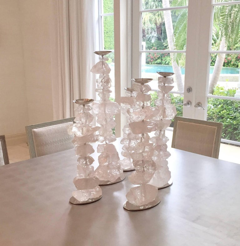 Group of Natural Rock Crystal Mounted Candleholders In Excellent Condition For Sale In New York, NY