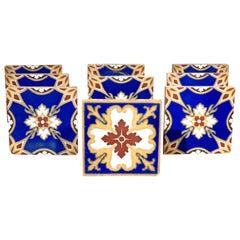 Nine Minton Arts & Crafts Period Encaustic Ceramic Tiles, England Circa 1875