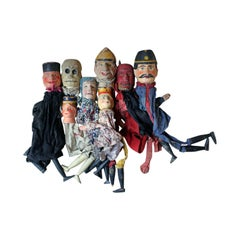Group of Seven Late 19th Century English Folk Art Punch & Judy Finger Puppets