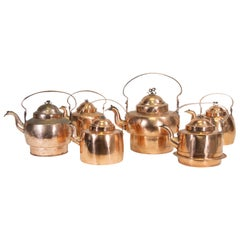 Group of Six 19th Century French Copper Kettles