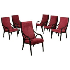 Group of Six Cavour Armchairs Lacquered Wood Foam Fabric, Italy, 1970s-1980s