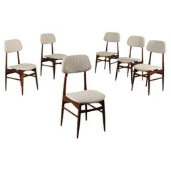 Group of Six Chairs Beech Foam Fabric Italy 1960s