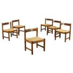 Group of Six Chairs Giovanni Michelucci Beech Raffia 1960s-1970s